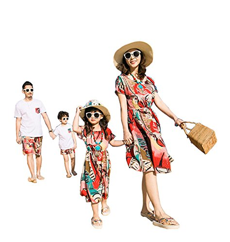 Elufly Mom Dad & Babies Floral Family Clothes Summer Beach Dress Tops Pants Parent-Child Outfits (Mom A, L) by Elufly