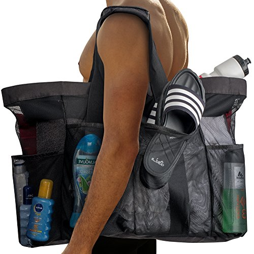 "Extra Large Beach Bags and Totes / 30"" XXL Mesh Tote Bag with Pockets & Zipper, Heavy Duty, Lightweight & Foldable - Oversized Carry Tote Bag for Towels, Perfect to Carry all items for Your Family"
