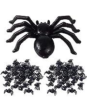 PHIEZC Spinnare av plast, 100 små spindlar av plast, spindlar bordsdekoration, realistisk halloweendekoration, festdekoration, svart