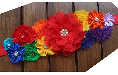 Rainbow sash maternity sash multicolored baby shower sash