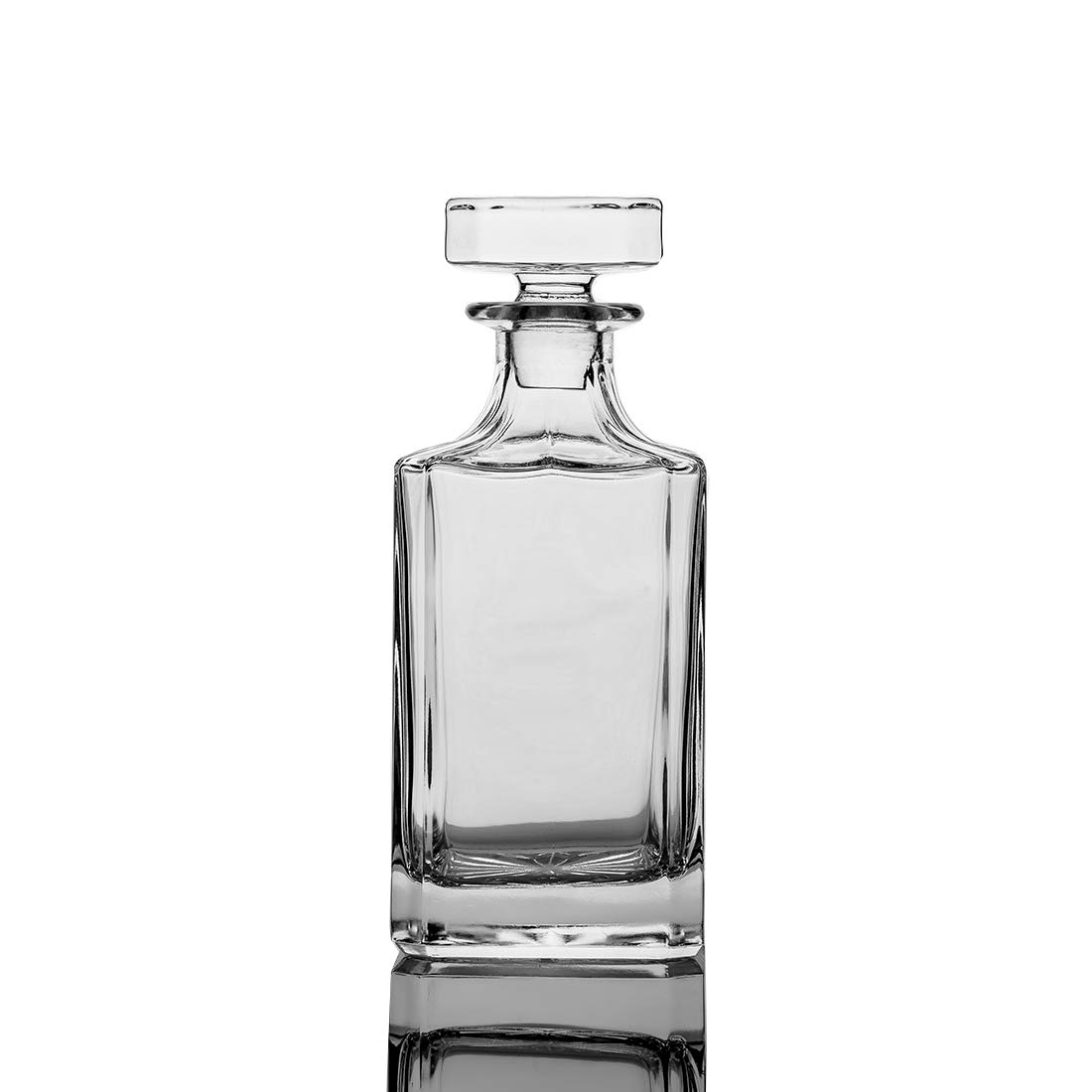 QUEEN&STONE Square 26oz Crystal Whiskey Decanter with Glass Stopper-Lead Free by QUEEN&STONE
