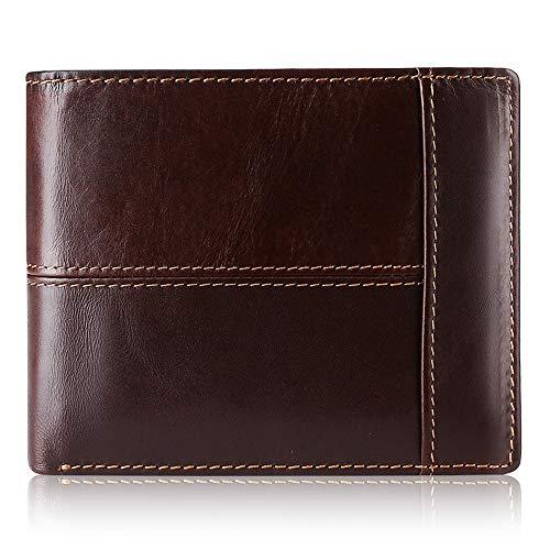 Mens Wallet RFID Genuine Leather Bifold Wallets For Men, ID Window 16...