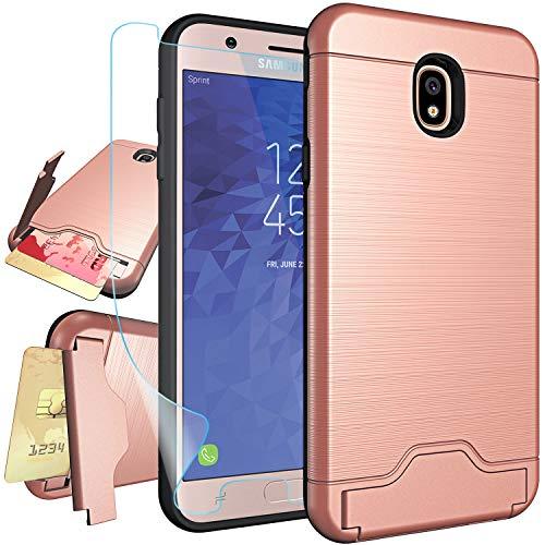 Samsung Galaxy J7 2018 Case,for J7 Refine,J7 Aero,J7 Star,J7 Top,J7 Crown,J7 Aura,J7 Eon Case with Protector,NiuBox Card Slot Wallet Holster Kickstand Shock Absorption Protective Phone Case Rose Gold