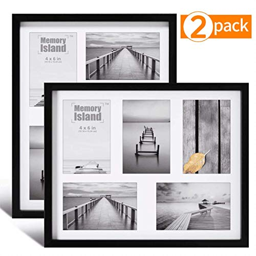 Memory Island,11x14 Collage Picture Frames-Display Five 4x6 Photos, 5 Openings for Family, Pets, Babies,Set of 2 Pack in Black for Wall Mounting. (Collage Frames Family)