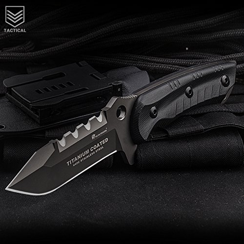 HX-Series Fixed Blade Tactical Knife, Tanto Blade,Outdoor Army Survival Knife,G10 Handle,Tactical Sheath, 9.4-Inch Overall