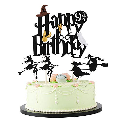 LVEUD Happy birthday cake topper, birthday cake decoration Black Harry Inspired Happy Birthday Cake Topper and Theme Cake Topper Party Supplies Decoration (Witch and -