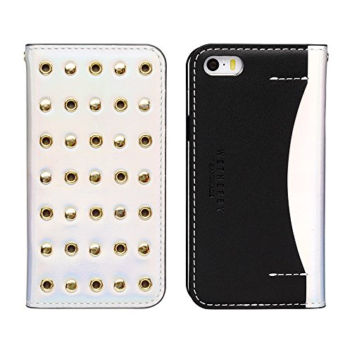 DesignSkin IP5WBST4302 iPhone 5/5S/Se Case, Wetherby Stud Luxurious Style 100% Handcrafted Genuine Cow Leather ID Credit Card Slot Paper Bill Storage Wallet Case - Hologram