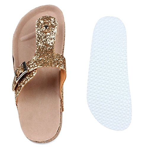 Stiefelparadies Bequeme Damen Sandalen Zehentrenner Glitzer Metallic Komfort-Sandalen Kork Bequemschuhe Strandschuhe Schnallen Flandell Gold