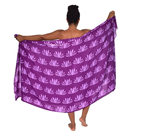 Plus Size Lotus Hawaii Sarong Pareo BeachWrap Swimsuit Coverup Purple