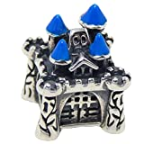 Solid 925 Sterling Silver ''Medieval Castle with Blue Spires'' Charm Bead 705 for European Snake Chain Bracelets