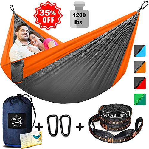 Single & Double Camping Hammock with Tree Straps 10x8 Ft Support 1200 lb Lightweight Nylon Portable Hammock for Kids Adults Outdoor Backpacking Traveling Camping Hiking Swing Indoor