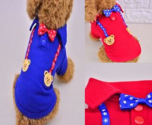 Ozzy Tail Dog Clothes Bear Polo T-Shirt Autumn for Summer Dog Clothes Medium-Sized Dogs from Small Dogs for Spring (M red)