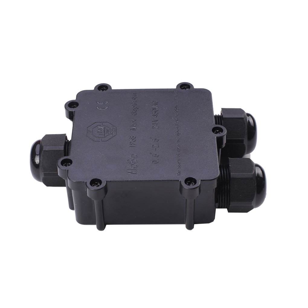 Luckiests 3-Way 24A 450V Noir C/âble ext/érieur /étanche IP68 Junction Box connecteur /électrique du bo/îtier Case pour c/âble Dia 4-8mm