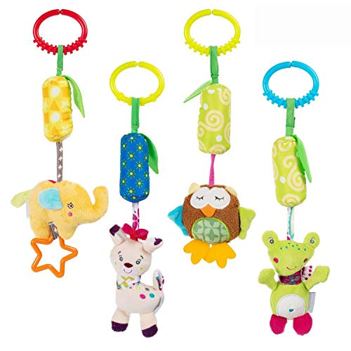 Daisy Baby Hanging Rattle Toy for 0 3 6 to 12 Months - 4 Pack - Soft Plush Hanging Crinkle Squeaky Sensory Educational Toy - Animal Wind Chime with Teethers