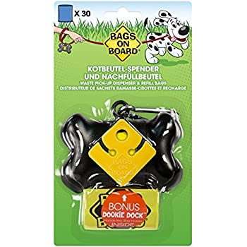 Bags on Board Dog Waste Bag Bone Dispenser with 30 Refill Bags, Black Bags