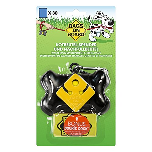 Bags on Board Dog Poop Bags Dispenser with 30 Refill Bags | Bone Design Attaches to Most Leashes Bags On Board Plastic Leash