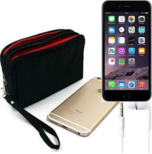 TOP SET: Gürteltasche für Apple iPhone 6, schwarz + Kopfhörer. Travel Bag, Travel-Case mit Diebstahlschutz praktische Schutz-Hülle Schutz Tasche Holster Outdoor-case (Wir zahlen Steuern in Deutschland