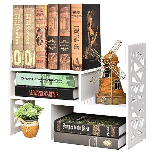 Expandable Wood Desktop Bookshelf Organizer, Shelving Unit w/White Matte Finish