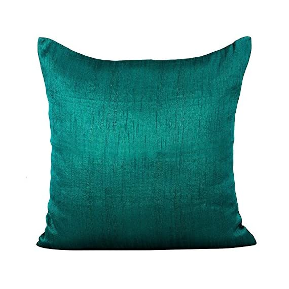 The White Petals Dark Teal Throw Pillow (Set of 2 Covers, Faux Raw Silk, Dark Teal, 18x18 inches) - INCLUSIONS- 2 Dark Teal throw pillow covers of size 18x18 inch or 45x45 cms. INSERTS/ FILLERS are NOT INCLUDED. MULTIPURPOSE USE- These Dark Teal throw pillow covers are perfect for bedroom, living room, guest room, kids room, dorm room. PREMIUM QUALITY: The fabric is top notch & stitching impeccable. Both the front & back of the pillow covers are made using same Dark Teal colored fabric. The zipper at the back ensures easy removal & insertion of the filler. - living-room-soft-furnishings, living-room, decorative-pillows - 51pOWGN8c0L. SS570  -