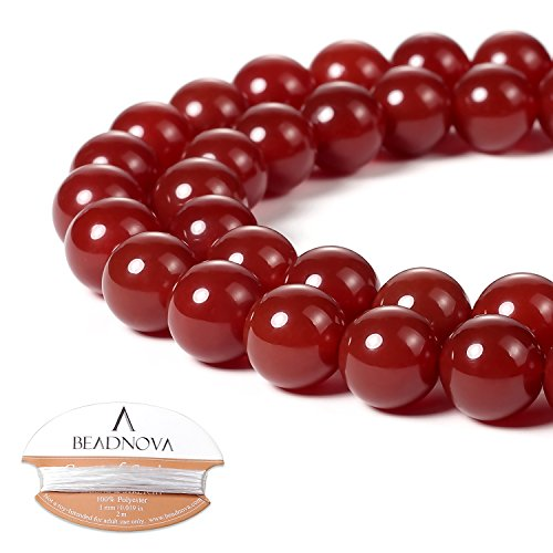 Ring Round Agate (BEADNOVA 10mm Natural Red Agate Gemstone Round Loose Beads for Jewelry Making (38-40pcs))