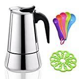 6 Cup Stovetop Moka Pot,Stainless Steel Espresso Maker,Come with 4.72 inch Heat Resistant Moka Trivet and 5 Different Color Scoop