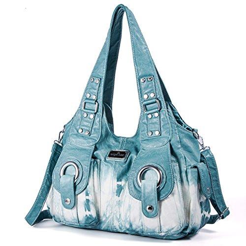 PU Satchel Women Street for ladies' Women Bag Bluegreen Handbag Roomy Xs160191z Bag Bag Pockets Hobo Fashion Shoulder Multiple Tote OqBYPx