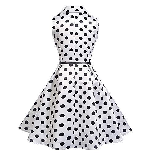 JESPER Women Vintage Square Collar Sleeveless Dot Printed Evening Party Swing Dress US 4/6 White by JESPER (Image #1)