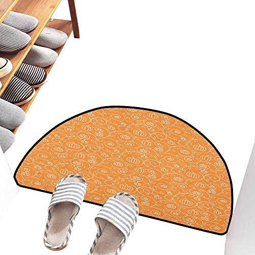 Axbkl Interior Door mat Harvest Pattern with Pumpkin Leaves and Swirls on Orange Backdrop Halloween Inspired Easy to Clean W24 xL16 Orange White -