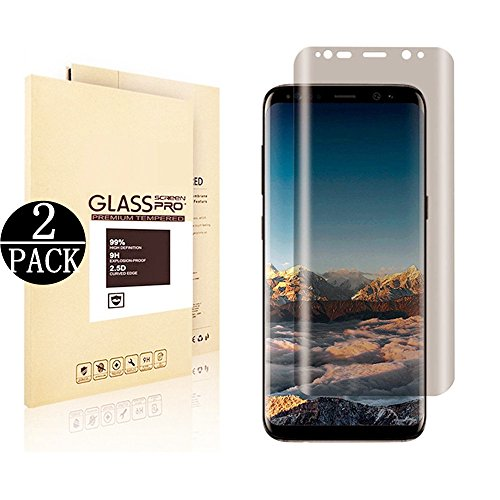 [2 Pack] Galaxy S8 Plus Screen Protector.DRGSDR Privacy Tempered Glass Anti - Spy. 3D Curved. Case Friendly. Screen Protector Shield for Samsung Galaxy S8 Plus. Transparent. Upgraded Version by EcoPestuGo