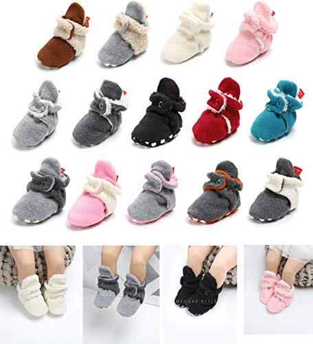 Image of Sawimlgy Baby Boys Girls Warm Fleece Ankle Booties Soft Sole Shoes Grippers Slippers Prewalkers Frist Birthday Gift