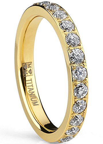 3MM Women's Goldtone Plated Titanium Eternity Ring, Wedding Band with Pave Set Cubic Zirconia 5