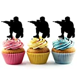 TA0107 Paintball Commando Silhouette Party Wedding Birthday Acrylic Cupcake Toppers Decor 10 pcs