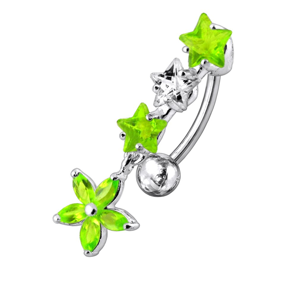 CZ Crystal Stone Triple Star with Flower Dangling Reverse Bar 925 Sterlingl Silver Belly Ring Body Jewelry