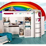 7c032efe9d9 Functional Single High Sleeper Bed with Storage - With Built-in Desk Unit