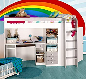 Functional Single High Sleeper Bed With Storage With Built