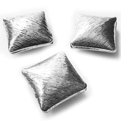 Heather's cf 4 Pieces Silver Tone Stripe Big Square Flat Beads Findings Jewelry Making 22mm