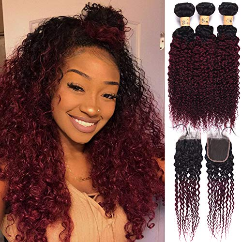Weave Lace - Peruvian Curly Virgin Hair With Closure Ombre 3 Bundles Deep Wave Human Hair Weave With Lace Closure #1b/99j (12