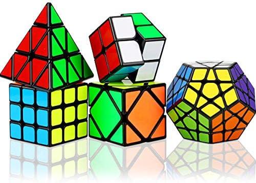 Aiduy Cube Magico Speed Cube Set 12 Pack, Piramide Triangolo Cubo Magico Megaminx 2x2 3x3 4x4 5x5 Cube + Rainbow Ball Cube + Skew Ivy Cube + Mirror Cube, Smooth Sticker Magic Cube