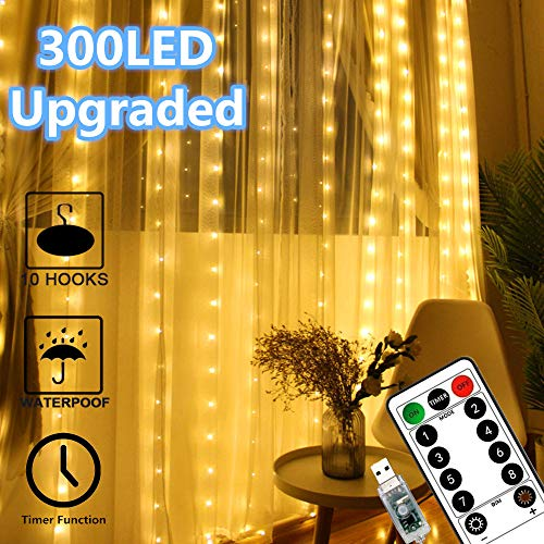 Window Curtain Lights 300 LED Upgraded Bigger Bulbs USB Plug in Fairy Lights 8 Modes Remote Control Curtain String Lights Waterproof LED Copper Wire Lights for Party Garden Bedroom Decor (Warm White)