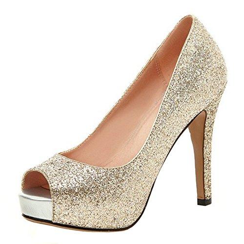 0c7972b4 COOLCEPT Mujer Moda Sin Cordones Tacon de Aguja Bombas Zapatos Peep Toe  Shiny Glitter Sandalias Oro