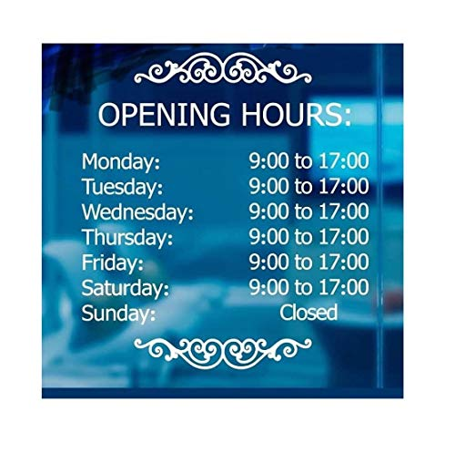 LokaUS Professional Business Hours Sign kit, 20x20 Inches Changeable Signs for Business, Customize Window Sign for Business, Outside Hours of Operation Sign, Store Hours Sign Decal.