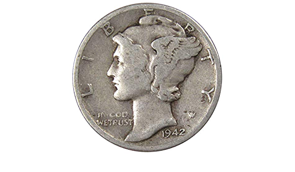 Collectors Silver Dime Silver Dime, Collectors Mercury Dime Mercury Dime 90 Percent Silver Dime 1942 D Mercury Dime Very Fine Condition