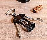 Vacu Vin' J-Hook Winged Corkscrew, Stainless Steel Black, 9.5x22.3x3.8 cm
