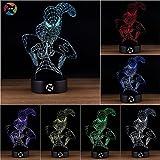 3D Optical Illusion Night Light - 7 LED Color Changing Lamp - Cool Soft Light Safe For Kids - Solution For Nightmares - Marvel Comics Avengers Spiderman