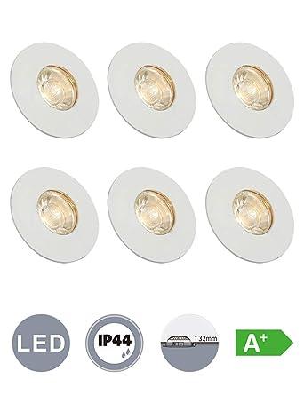 LED Badeinbaustrahler Decken Einbaustrahler mit Glas 6x4W 230Volt IP44  Badezimmer Lampe Einbauleuchte Bad Einbau spot Deckeneinbaustrahler ...