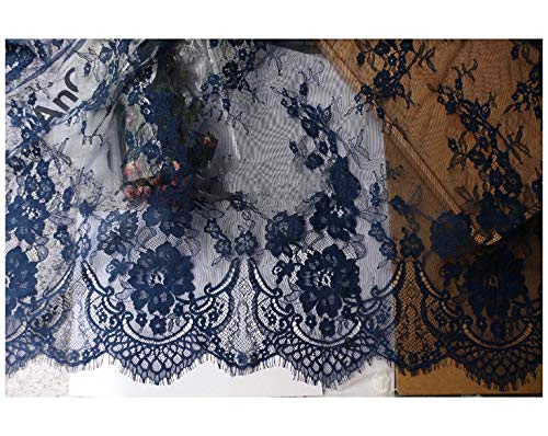 Chantilly Eyelash Edge Lace Fabric Floral Bridal/Wedding Dress Flower African Lace Table Cloth DIY Crafts Trim Applique Ribbon Curtains ALE16 (Navy)