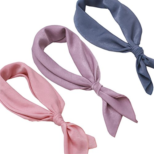 Silk Hair Neck Scarf neckerchief – 3 Packs Pink Purple Women Square Head Headscarf Sleeping Bag Scarfs Wrap, Soft Fashion For Spring Summer(TSR3-04)