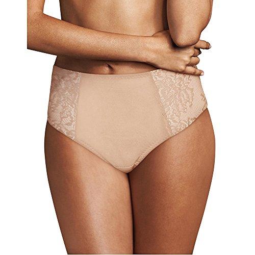 Maidenform Women's Sexy Lace Light Control Thong (Champagne Shimmer/Ivory, Medium)