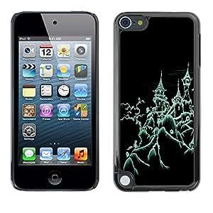 Apple iPod Touch 5 - Metal de aluminio y de plástico duro Caja del teléfono - Negro - Halloween Creepy House