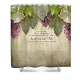 Pixels Shower Curtain (74'' x 71'') ''Tuscan Vineyard - Rustic Wood Fence Scripture''